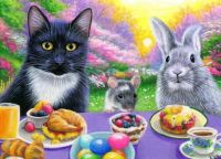 Cat, mouse and bunny Easter.