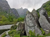 Amazing view with sculptures carved from natural rock in Italy