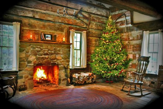 Christmas Inside the Log Cabin