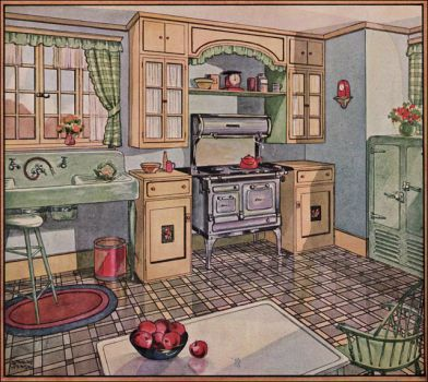 Theme Vintage illustrations/pictures - American Kitchen 1928