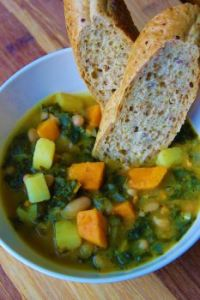Healthy Bean Soup and Hot Bread