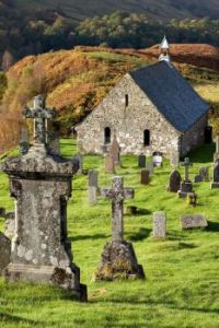 Ancient Church and Graveyard in the Scottish Highlands