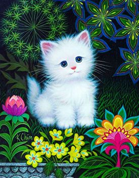 White Kitten in flowers