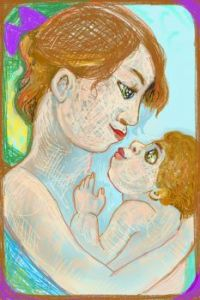 Mother and baby.  ( Digital drawing. )