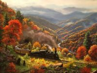 Autumn Train by the River