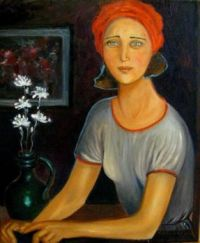 Girl in a Red Turban  - Krystyna Ruminkiewicz
