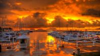 Fiery Sky Over the Marina