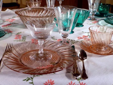 Pink and Teal Depression Glass