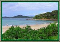 Sandy beach at Fingal Bay.