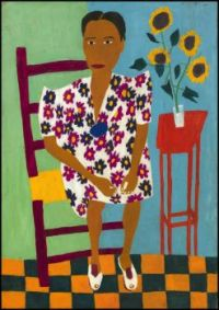 Portrait with Sunflowers ~ William H.  Johnson