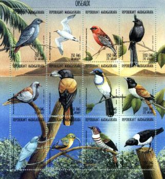 Theme:  Birds -   Birds of Madagascar, Postage Stamps