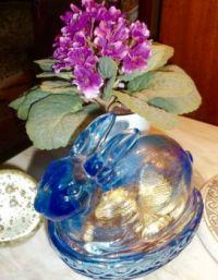 Fenton Blue Glass Rabbit Candy Dish.