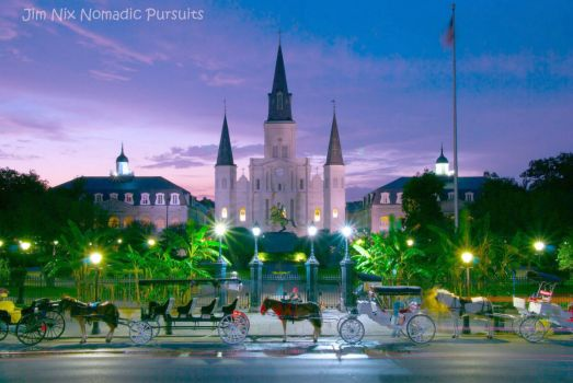 Night Falls on Jackson Square New Orleans