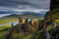 Basalt pinnacles can be seen in the Sound of Raasay—the waters between Raasay and Skye island in Scotland