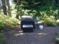 """Vault toilet"" Snow Lake, Mt. Rainier National Park, Washington state, USA"