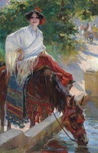 Ulpiano Checa (1860 - 1916) -Watering the Horse