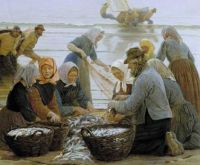 "Peder Severin Krøyer, ""Women and Fishermen of Hornbaek"", 1875"