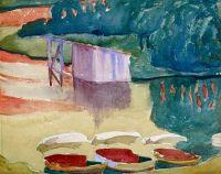 Boote und Bootshaus am Silsersee bei Capolago, ca 1910-1915, Giovanni Giacometti (1868-1933)