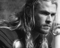 To continue the monochrome theme, Hemsworth as Thor