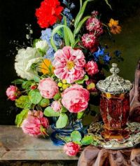 Floral Still Life With Ornamental Vessel