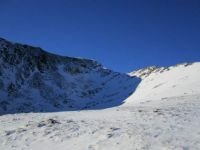 Looking up towards the top of Swirral Edge, Lake District, UK