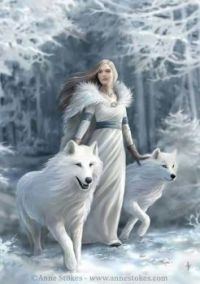 Lady of the Forest with White Wolves