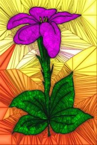 STAINED GLASS FLOWER B95