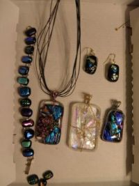 THEME:  Jewelry  Fusible Glass bracelet, earrings, 3 necklace pendantsn (Ask if you want more pieces)