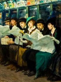 Subway riders in New York City, aka Evening News