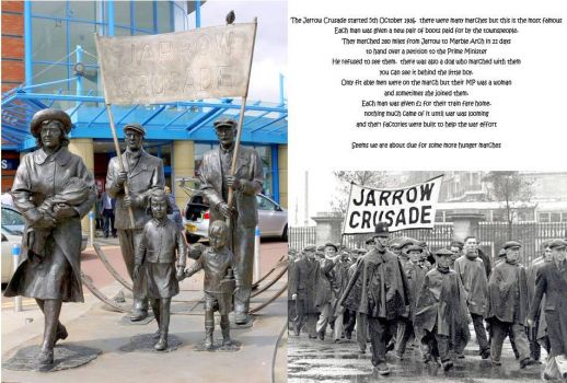 the Jarrow Crusade 5th October 1936.  I will be following them each day as they marched 300 miles to London in search of jobs