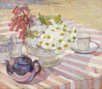 Margaret Preston, Still life with teapot and daisies. 1915