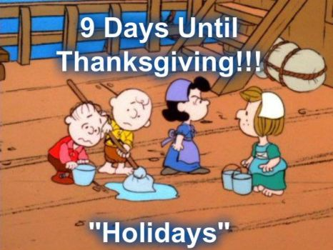 Charlie Brown and the gang getting ready for Thanksgiving