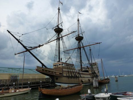 The Mayflower under stormy skies