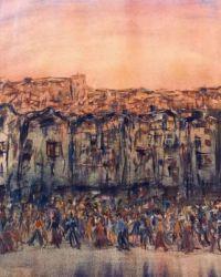 watercolor city scene