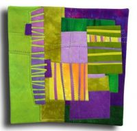Green & Purple Geometric Quilt by Melody Johnson