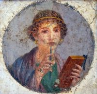 Woman with wax tablets and stylus - so-called Sappho
