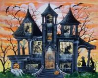 Spooky house with bats