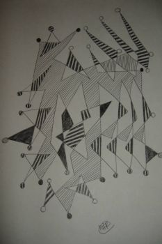 Zentangle Line Drawing - Bobbled Pinnacles
