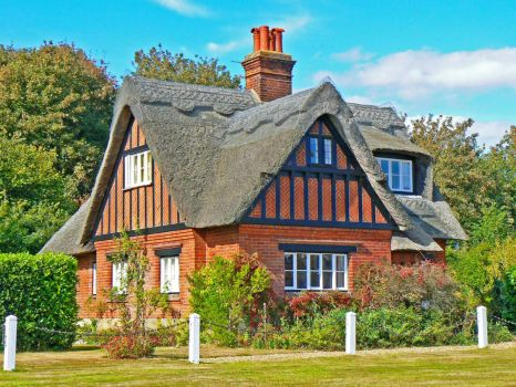 Nice Thatched-Roof Brick House....