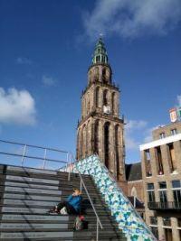 Groningen - a sunbath near the Martinitower
