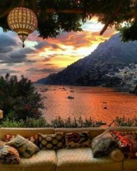 Marvelous sunset in Positano, Italy.