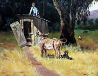 "THEME:  ""Outhouses""  Cowboy on the outhouse by Lee Piper"
