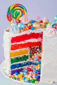 Rainbow Cake with Candy