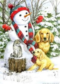 Snowman, cat and dogs.
