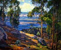 William Wendt--Eucalyptus Trees and Bay, 1930