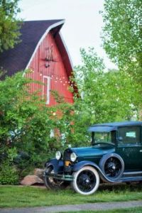 Old Red Barn and Car...