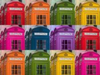 Multi coloured telephone boxes