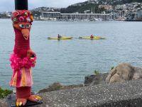 Yarn Bombing on Wellington Waterfront
