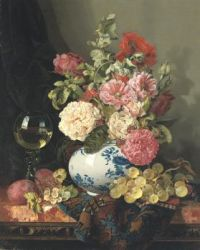 Edward Ladell (1821–1886), Mixed Flowers in a Chinese Vase with Grapes and a Wine Roemer
