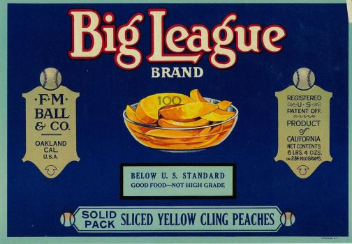Big League Peaches label
